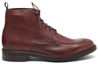 Paul Smith Trent Signature Stripe Trim Leather Boots - Mens - Burgundy