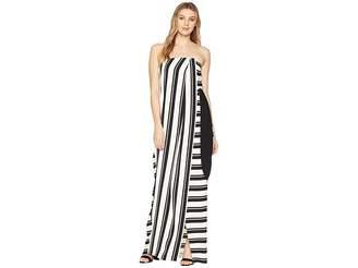 Halston Strapless Striped Tie Waist Detail Gown