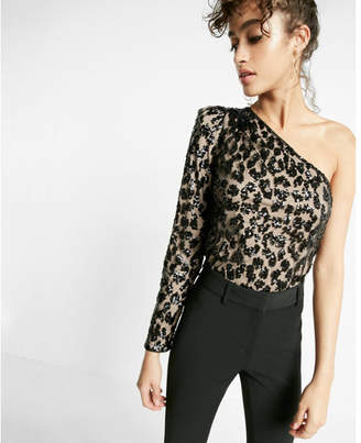 Express sequin mesh long sleeve one shoulder blouse