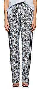Robert Rodriguez Women's Orchid-Print Silk Twill Track Pants - Blue