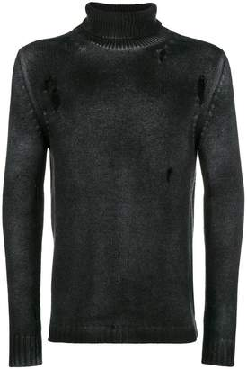 Avant Toi distressed overdyed turtleneck sweater