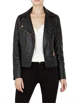 Ted Baker Lizia Blk Leather Jacket C/O