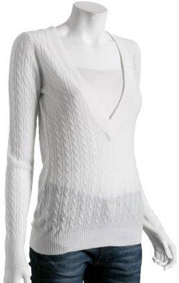 Autumn Cashmere white cable cashmere v-neck sweater