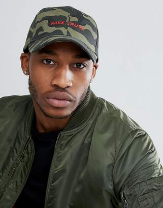 Asos DESIGN Baseball Cap In Camo With Embroidery Detail