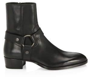 Saint Laurent Wyatt 40 Leather Harness Boots