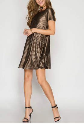 She + Sky Ribbed Metallic Dress