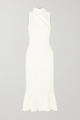 HANEY Gemma Draped Ruffled Stretch-cady Dress - Ivory