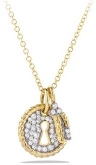 David Yurman Cable Collectibles Lock and Key Charm Necklace with Diamonds in Gold $1,450 thestylecure.com