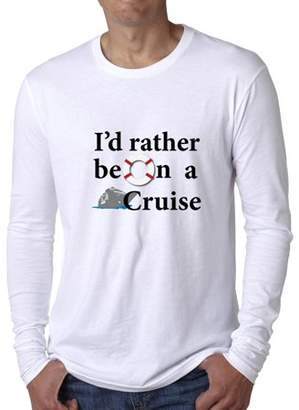 Hollywood Thread I'd Rather Be On A Cruise - Unique Cruise Ship Graphic Men's Long Sleeve T-Shirt