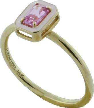 Alison Lou Pink Sapphire And Enamel Ring