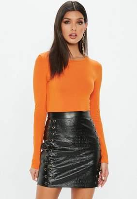 Missguided Orange Crew Neck Long Sleeve Bodysuit