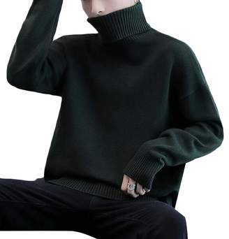 Domple Men Winter Thermal Pullover Knitted Solid Loose Turtleneck Sweater US XL