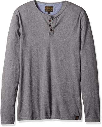 Lucky Brand Men's Long Sleeve Y Neck T-Shirt, Heather Grey, L