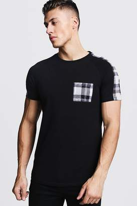 boohoo Check Panel Muscle Fit T-Shirt With Curve Hem
