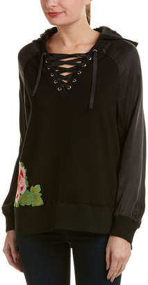 True Religion Embroidered Lace-Up Silk-Trim Pullover
