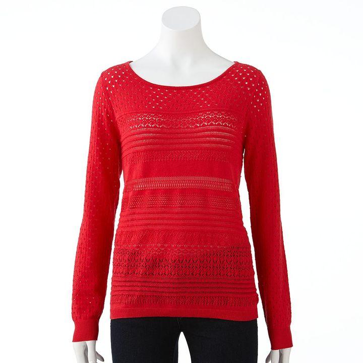 Lauren Conrad pointelle open-work sweater - women's