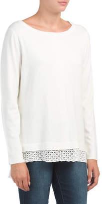 Hi Lo Pointelle Lace Bottom Sweater