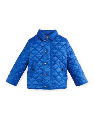 Burberry Luke Quilted Snap-Front Jacket, Blue, Size 12M-3 $185 thestylecure.com