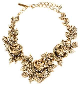 Oscar de la Renta Crystal Rose Collar Necklace