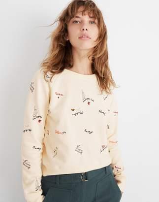 Madewell Embroidered Shrunken Sweatshirt in Subway Graffiti