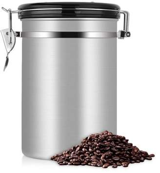Qiilu 1.8L Coffee and Food Storage Container - Durable Large Capacity Airtight Coffee Jar - Stainless Steel Kitchen Storage Canister for Coffee Beans, Tea and Dry Goods, Perfect Gift