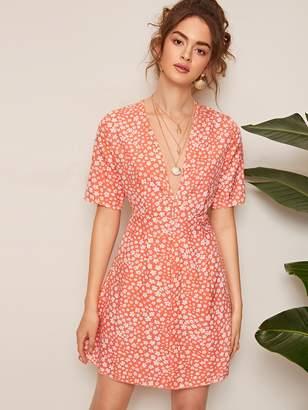 Shein Ditsy Floral Print Deep V Neck Dress