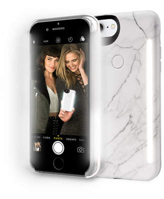 LuMee Limited Edition iPhone 8 Plus Photo-Lighting Duo Case, White Marble