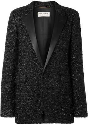 Saint Laurent Satin-trimmed Lurex Blazer - Black