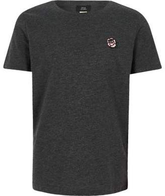 River Island Boys grey rose embroidered T-shirt