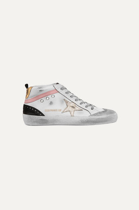 Golden Goose Mid Star Distressed Leather And Suede Sneakers - White