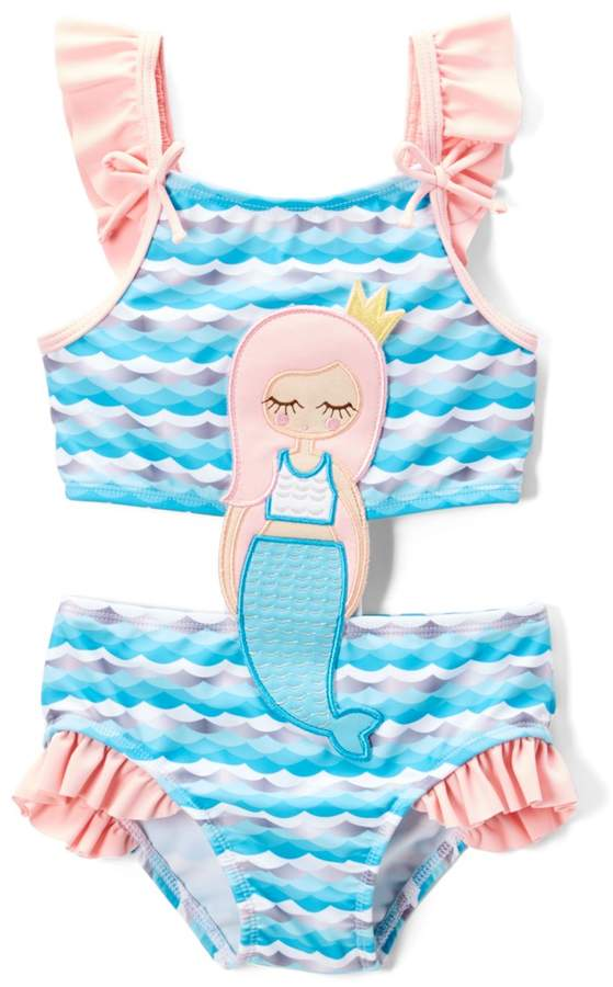 Blue Mermaid Connector One-Piece - Toddler