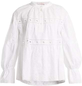 See by Chloe Geometric-embroidery cotton top