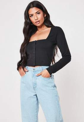 Missguided Square Neck Button Front Crop Top