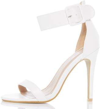 Quiz White Ankle Buckle Sandals