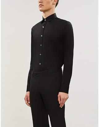 Canali Semi-sheer slim-fit cotton shirt