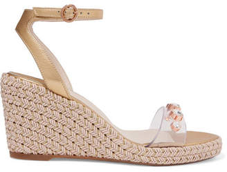 Sophia Webster Dina Embellished Vinyl And Metallic Leather Espadrille Wedge Sandals - Gold