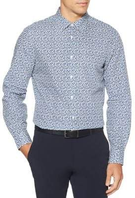 Perry Ellis Slim Fit Floral Long Sleeve Button Down Shirt