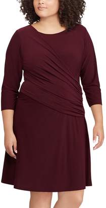 Chaps Plus Size Ruched Fit & Flare Dress