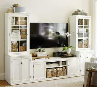 Pottery Barn Logan Media Suite with Cabinet Doors & Glass Towers