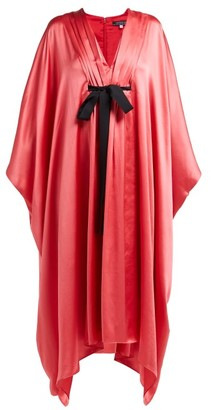 Andrew Gn Malovich Bow Embellished Silk Satin Kaftan Dress - Womens - Pink