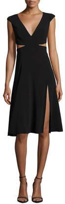 Halston Cutout Cap-Sleeve V-Neck Crepe Dress
