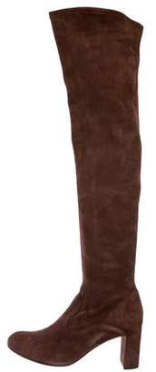 Valentino Suede Round-Toe Over-The-Knee Boots