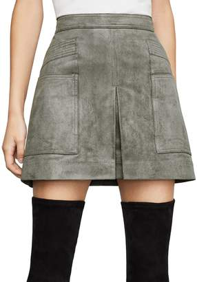 BCBGMAXAZRIA Faux Suede Utility Mini Skirt