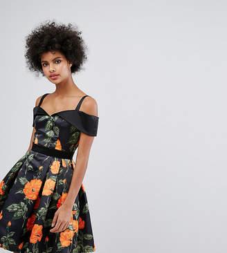 Horrockses Sweetheart Satin Skater Dress In Floral