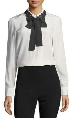 Kate Spade Lace Collar Silk Self-Tie Bow Shirt
