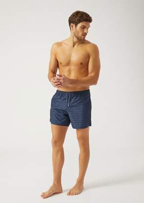 Emporio Armani Ea7 Swim Shorts In Technical Fabric With Logo