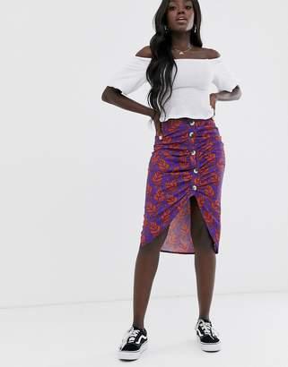 Blend She wrap midi skirt