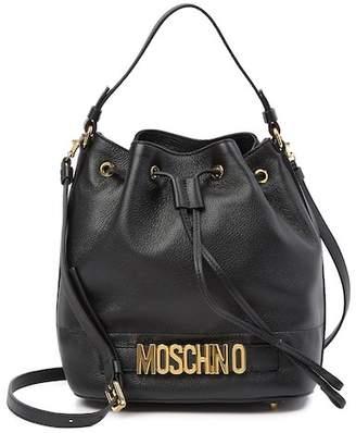 Moschino Leather Drawstring Bucket Bag
