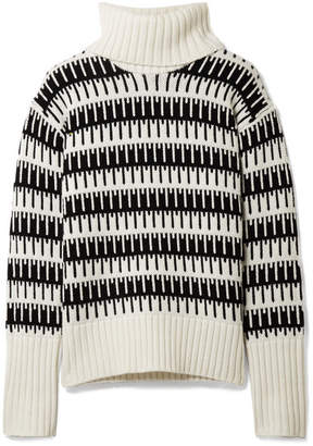 Theory Wyndora Intarsia Wool And Cashmere-blend Turtleneck Sweater