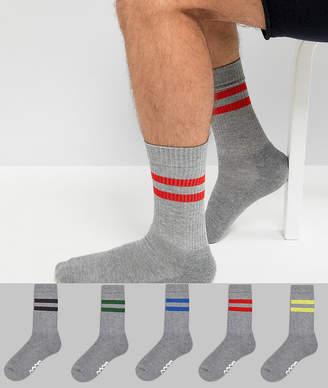 Asos Tube Style Socks In Gray Marl & Branded Soles 5 Pack